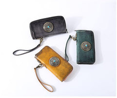 Handmade Black Leather Mens Long Leather Green Wallet Zipper Yellow Clutch Wallet for Men