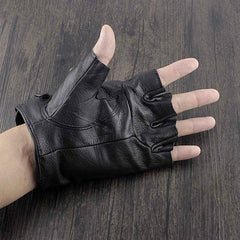 Mens Punk Skull Black Cool Leather Half-Finger Rock Gloves Motorcycle Gloves Black Biker Gloves For Men