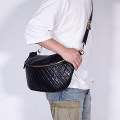 Fashion BLACK LEATHER MEN'S 12 INCHES Saddle Side Bag BLACK MESSENGER BAGs Courier BAG FOR MEN