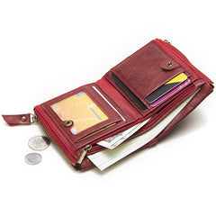 RFID Brown Leather Men's Small Blue Bifold Business Wallet Black Slim Short Wallet Coin Purse For Men