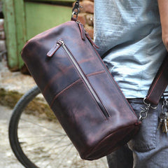 Red Brown Leather Mens Casual Barrel Postman Bag Side Bag Bucket Messenger Bag For Men
