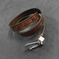 Vintage Chinese Coffee Leather Metal Belt Motorcycle Belt Black Leather Round Belt For Men
