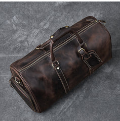 Retro Brown Leather Men's Business Overnight Bag Large Travel Bag Coffee Duffel Bag Weekender Bag For Men