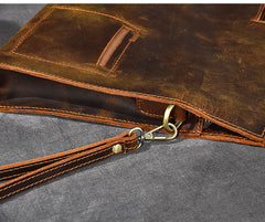 Retro Brown Leather Mens Business Clutch Bag Side Bag Handbag Small Messenger Bag For Men