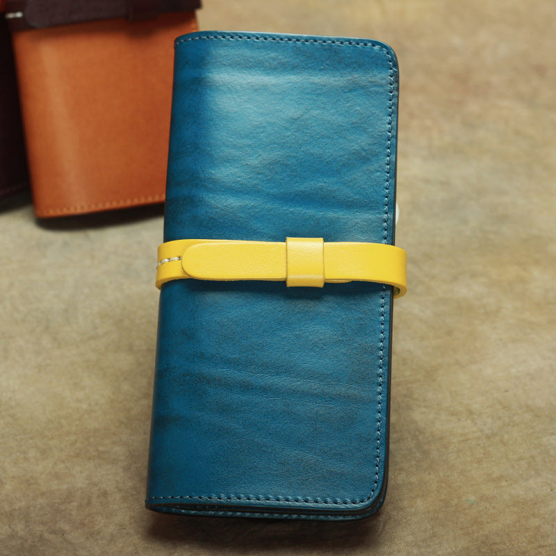 Vintage Leather Men's Bifold Long Wallet Black Brown Blue Long Wallet For Men