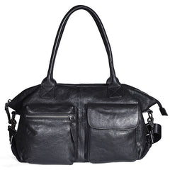 Leather Mens Large Black Travel Handbag Weekender Bag Brown Duffle Bag Luggage Bag for Men