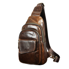 Fashion Black Leather Men's Sling Bag Chest Bag Brown One Shoulder Backpack For Men
