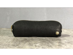 Simple Handmade Leather Womens Makeup Case Black Pencil Case Small Makeup Purse For Men