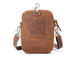 BROWN LEATHER MENS Belt Pouch Belt Bag Waist Bag Mini Side Bag Phone Bag For Men