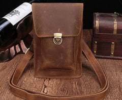 Brown Leather Small Belt Pouch Belt Bag Small Shoulder Bag Side Bag For Men