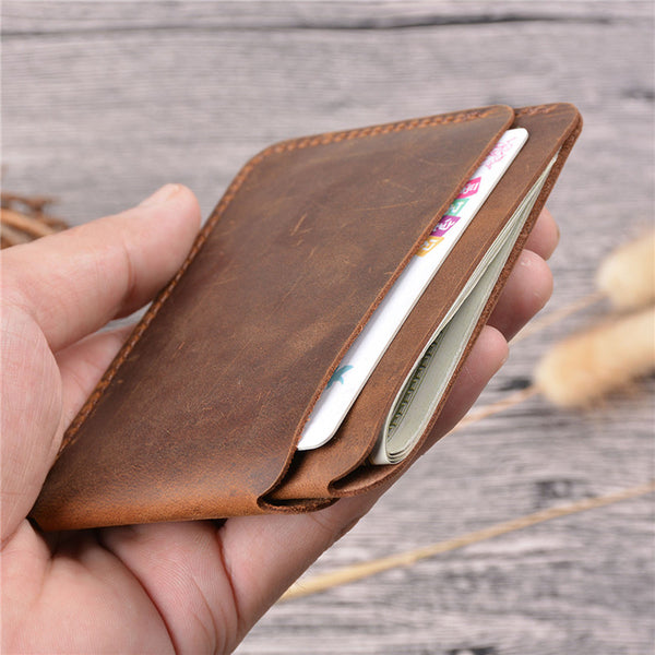 Vintage Brown Leather Men's Front Pocket Wallet Black Slim Card Short Wallet Small Wallet For Men