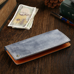 Simple Handmade Mens Brown Slim Long Wallet Blue Bifold Slim Card Wallet Clutch Wallet For Men