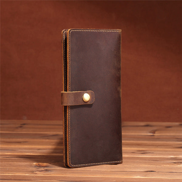 Simple Leather Long Wallet Bifold Long Wallet for Men
