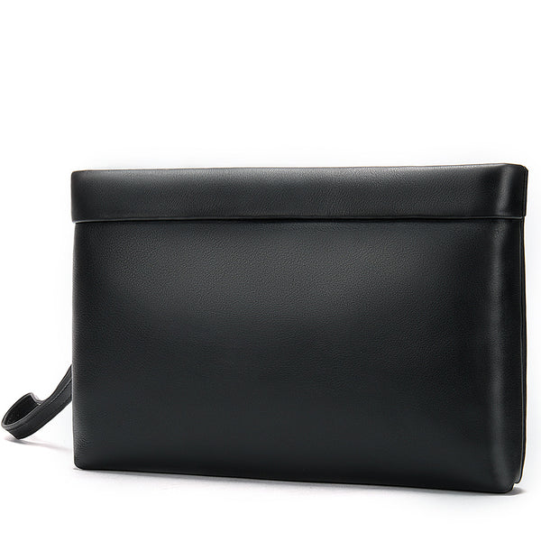 Fashion Black Leather Men's Clutch Purse Clutch Bag Wristlet Bag For Men