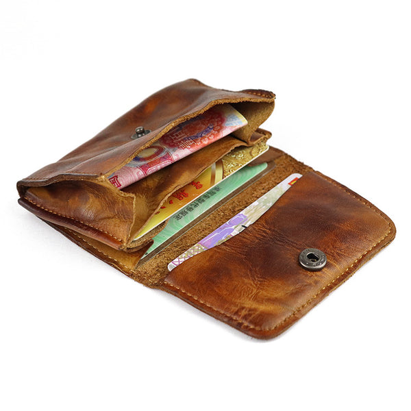 Vintage Brown Leather Men's Small Wallet Card Wallet Black Short Front Pocket Wallet For Men