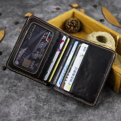 Vintage Leather Men's Bifold Small Wallet Front Pocket Wallet Short Wallet For Men