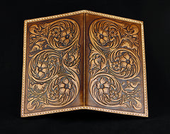 Handmade Leather Tooled Floral Mens Long Wallet Cool Leather Wallet Clutch Wallet for Men