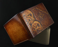 Handmade Leather Tooled Metallica Mens billfold Wallet Cool Leather Wallet Slim Wallet for Men