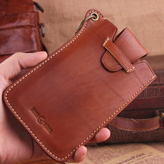 Genuine Leather Mens Cool Phone Key Wallet Card Slim Wallet Key Holder Car Key Case for Men