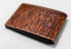 Handmade Leather Tooled Walking Dead License Wallet Mens Card Short Wallet Cool Leather Wallet Slim Wallet for Men