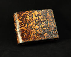 Handmade Leather Tooled Assassins Creed Mens billfold Wallet Cool Leather Wallet Slim Wallet for Men