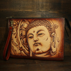 Handmade Leather Tooled Mens Cool Long Leather iPad Bag Wristlet Clutch Wallet for Men