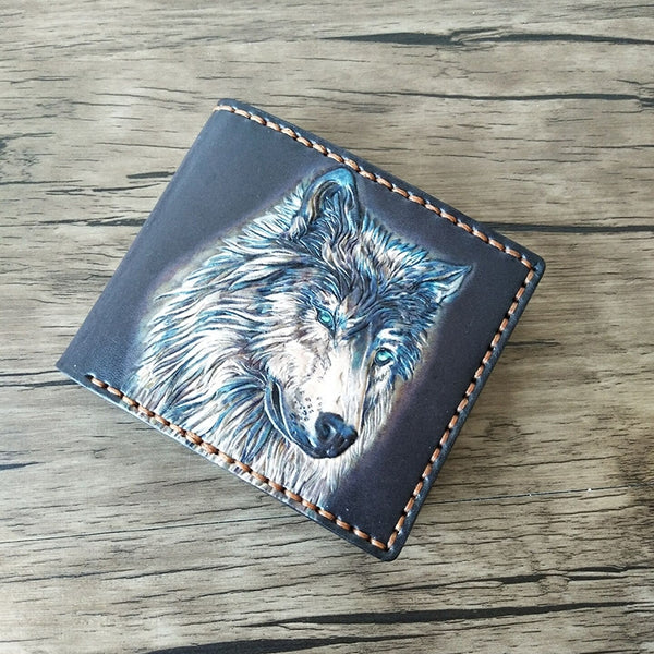 Handmade Leather Wolf Tooled Mens Short Wallet Cool Leather Wallet Slim Wallet for Men