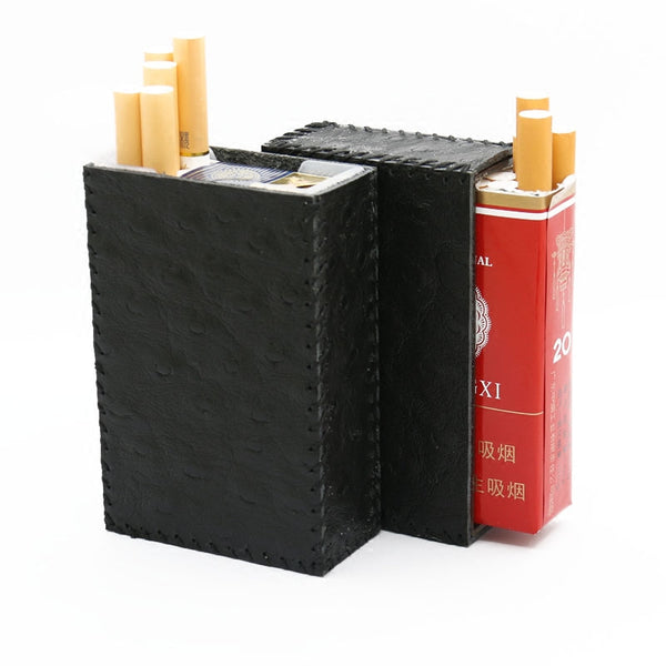 Handmade Black Leather Cigarette Holder Mens Cool Cigarette Holder Case for Men