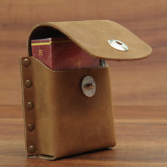 Cool Vintage Leather Mens Cigarette Case Cigarette Holder with Belt Loop for Men
