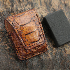 Cool Mens Brown Leather Zippo Lighter Cases with Loop Zippo lighter Holders with clips