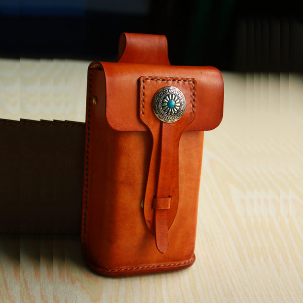 Handmade Cool Leather Cell Phone Holsters Belt Pouch Mens Waist Bag for Men