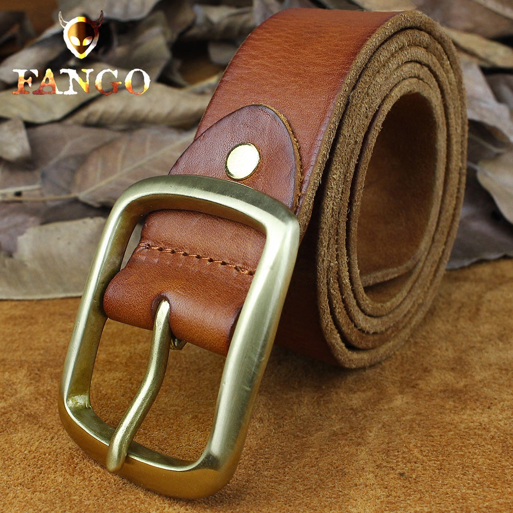 Handmade Genuine Leather Mens Leather Men Brown Belt for Men Cool Leather Belt