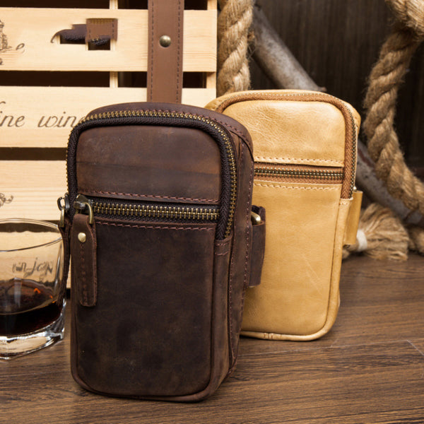 Leather Belt Pouch Mens Small Cases Arm Case Pouch for Men