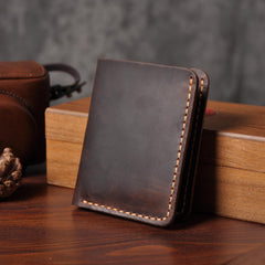 Handmade Leather Mens Cool Slim Leather Wallet Men Small Wallets Bifold for Men