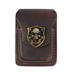 Cool Mens Leather Skull Zippo Lighter Cases with Loop Zippo lighter Holder with clips