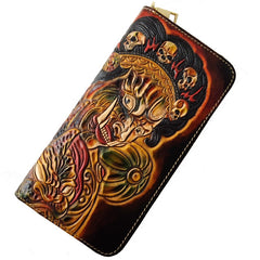 Handmade Leather Mahākāla Tooled Mens Long Wallet Cool Leather Wallet Clutch Wallet for Men