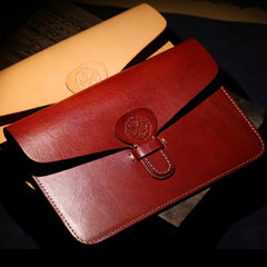 Handmade Leather Minimalist Mens Cool Long Leather iPad Bag Wristlet Clutch Wallet for Men