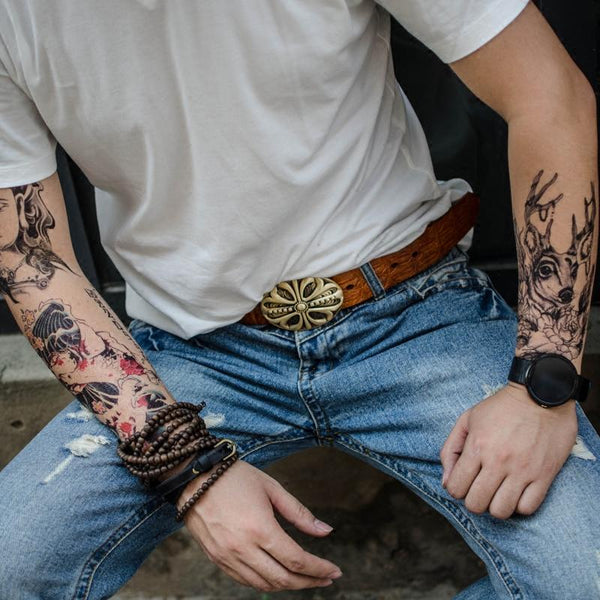Handmade Genuine Leather Western Country Punk Rock Floral Cross Mens Cool Men Biker Trucker Leather Belt