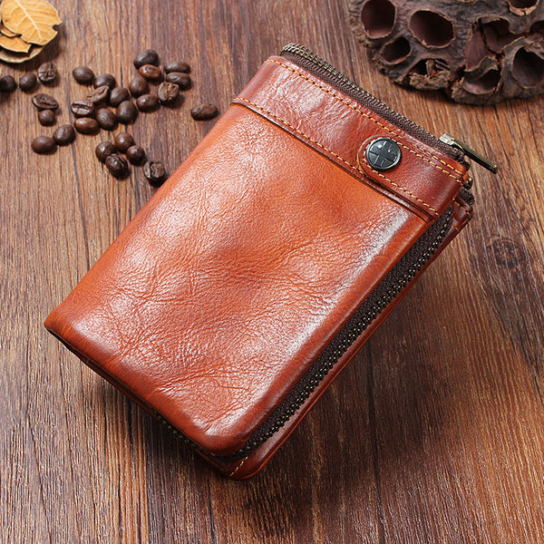 Handmade Mens Cool billfold Leather Wallet Men Small Wallets Bifold for Men