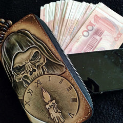Handmade Leather Skull Death Tooled Mens Long Wallet Cool Leather Wallet Clutch Wallet for Men