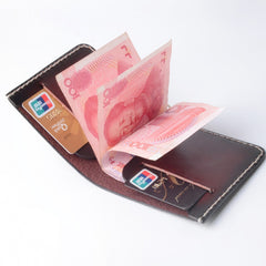 Handmade Leather Minimalist Mens Cool Slim Leather Wallet Men Short Wallets Bifold for Men