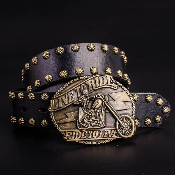 Handmade Genuine Leather Punk Rock Skull Rider Mens Cool Men Biker Trucker Leather Belt