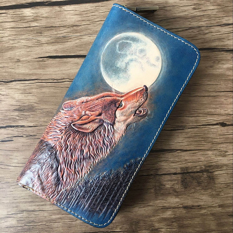 Handmade Leather Wolf Tooled Mens Long Wallet Cool Leather Wallet Clutch Wallet for Men