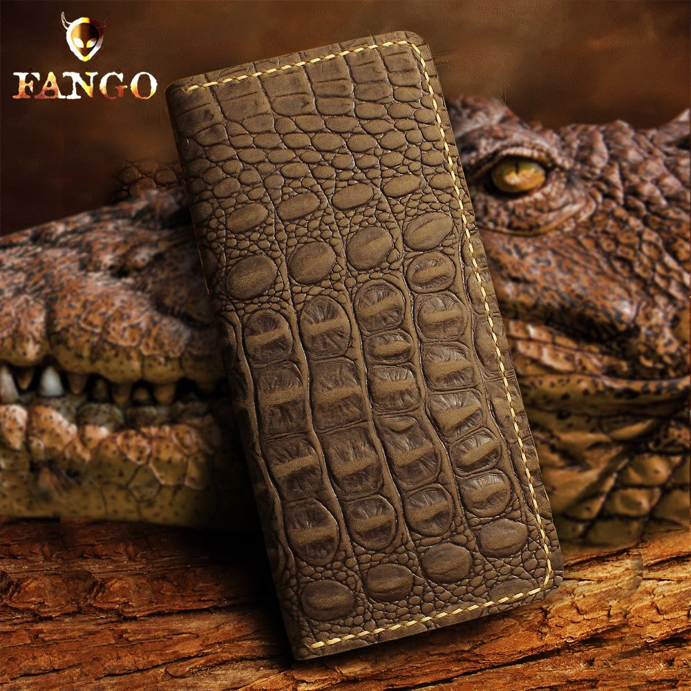 Handmade Leather Alligator Pattern Mens Cool Travel Long Wallet Card Holder Card Slim Clutch Wallets for Men