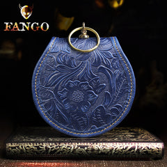 Handmade Leather Floral Round Mens Cool Slim Change Wallet Coin Wallet Pouch for Men