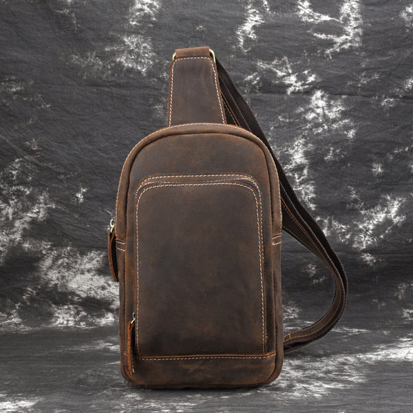 Casual Leather Chest Bag Sling Bag Crossbody Sling Bag Hiking Sling Bag For Men