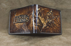 Handmade Leather Tooled Jax Grandmaster at Arms League of Legends Mens Short Wallet Cool Leather Wallet Slim Wallet for Men