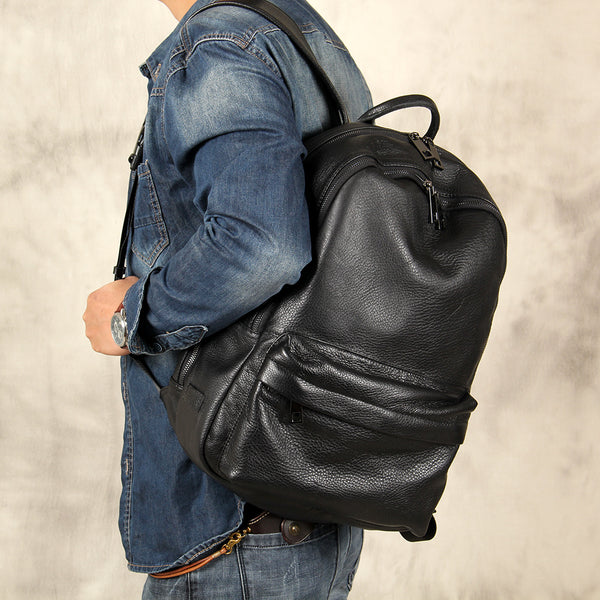 Mens Cool Leather Backpack Black Travel Bag School Bag for Men