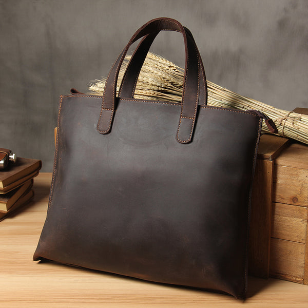 Handmade Leather Vintage Mens Coffee Black Tote Bag Cool Handbag Shoulder Bag for Men
