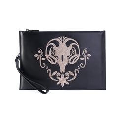 Handmade Leather Mens Cool Embroidery Wallet Zipper Clutch Wristlet Wallet for Men